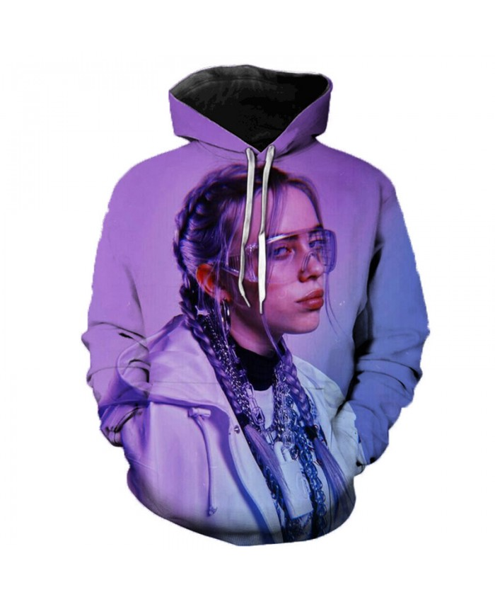 3D Music Singer Billie Eilish Print Hoodies Sweatshirts Men Women Hip Hop Long Sleeve Casual Streetwear Plus Size Hoodies