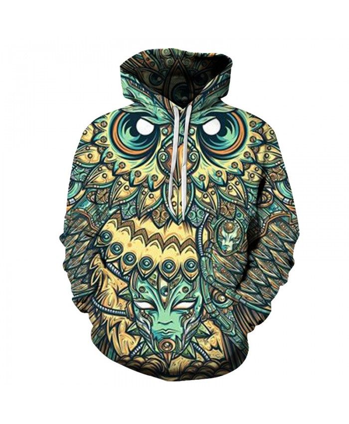 3D Owl Printed Hoodies Men Brand Sweatshirts Pullovers Hooded Jakcets Boy Tracksuits Casual Fashion Male Coats 6XL Quality