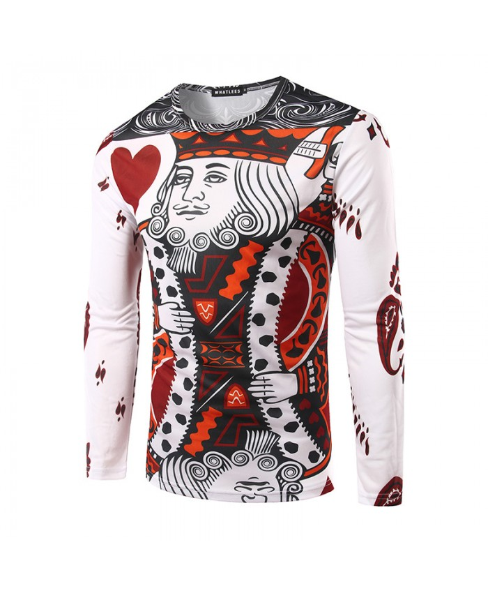 3D Playing Cards King & Queen Tees Men Tshirts Long Sleeve Round Neck Funny Trend Fashion Tops Brand Clothing