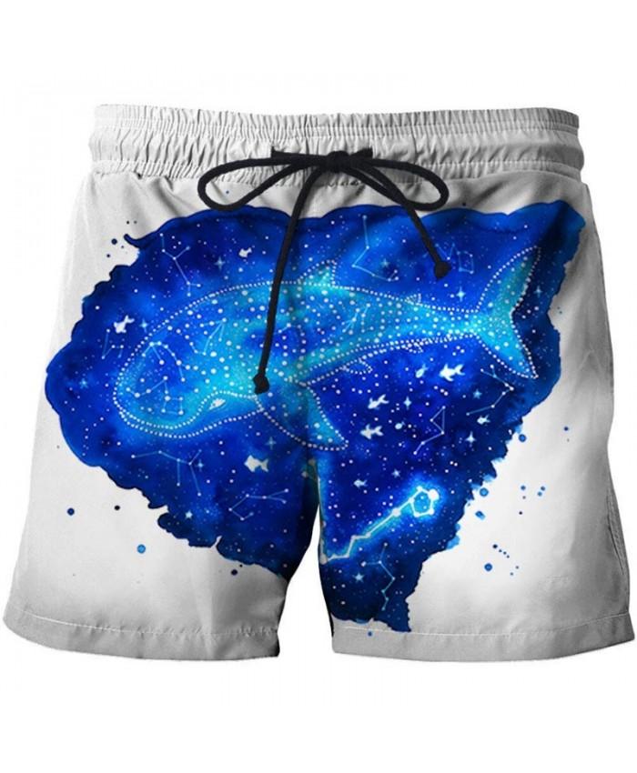3D Print Blue Fish By Pixie Cold Artist Men Beach Shorts Casual Cool Men Stone Printed Beach Shorts Summer Male