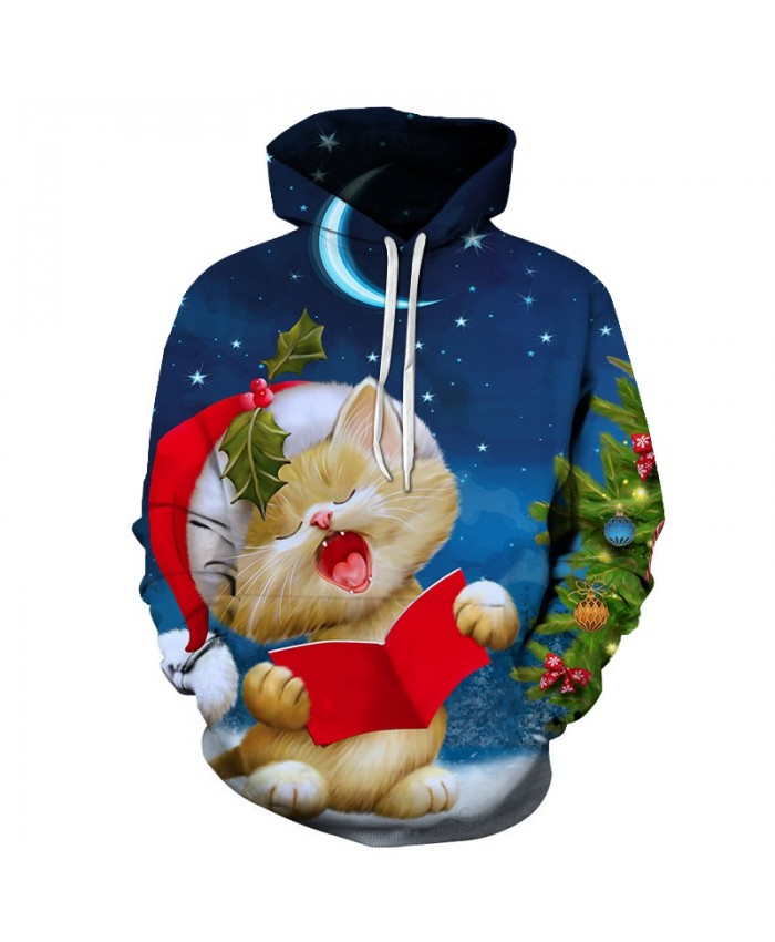 3D Print Casual Fashion Hoodies Christmas Sweatshirts Sport Hoodies Men 2019 Cat Reading A Book Drop shopping