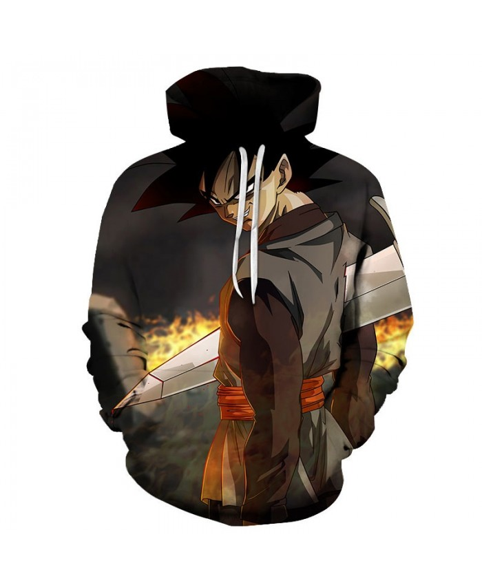 3D Print Hand Holding A Knife Dragon Ball Men Pullover Sweatshirt Pullover Hoodie Casual Hoodies Fashion Men Hoodie