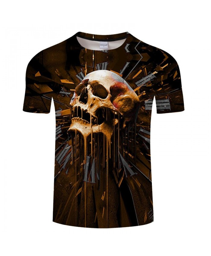 3D Print Many Holes In The Skull Men tshirt Crossfit Shirt Casual Summer Short Sleeve Male tshirt Men Round Neck Top