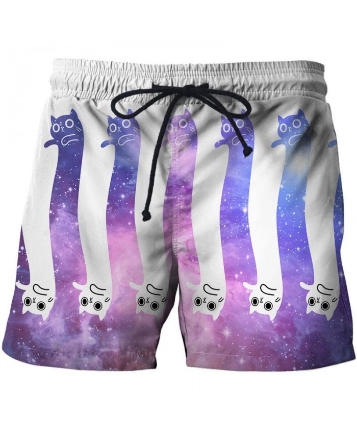 3D Print Men Purple White Cat Shorts Casual Cool Elastic Waist Men Stone Printed Beach Shorts Male Fitness Shorts