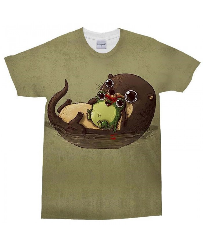 3D Print Men's T Shirt Beaver and Frog Casual Fashion Crossfit Shirt Men Tops&Tee Brand