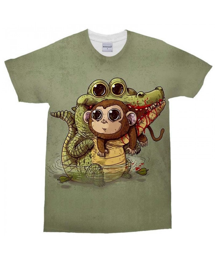 3D Print Men's T Shirt Crocodile and Monkey Casual Fashion Crossfit Shirt Men Tops&Tee Brand