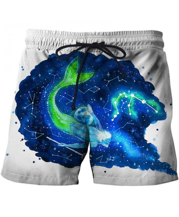 3D Print Mermaid By Pixie Cold Artist Men Beach Short Casual Cool Men Stone Print Beach Shorts Summer Male Beachwear