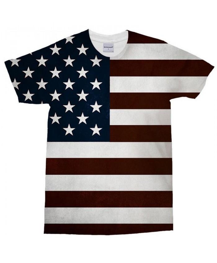 3D Print Multiple Five-pointed Star T Shirt Men tshirt Summer Casual Slim Men Short Sleeve USA Flag Drop Ship