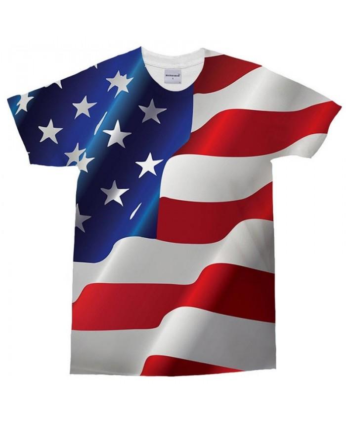 3D Print Multiple Wide Lines T Shirt Men tshirt Summer Casual Slim Men Short Sleeve Men T Shirts USA Flag Drop Ship