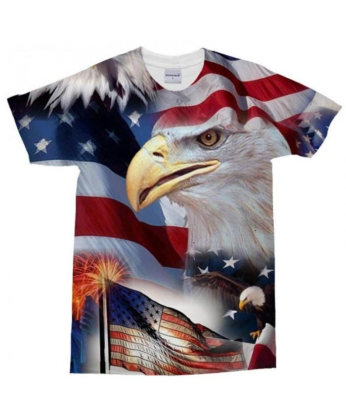 3D Print Sharp Mouth T Shirt Men tshirt Summer Casual Slim Men Short Sleeve O-neck Tops&Tee USA Flag Drop Ship
