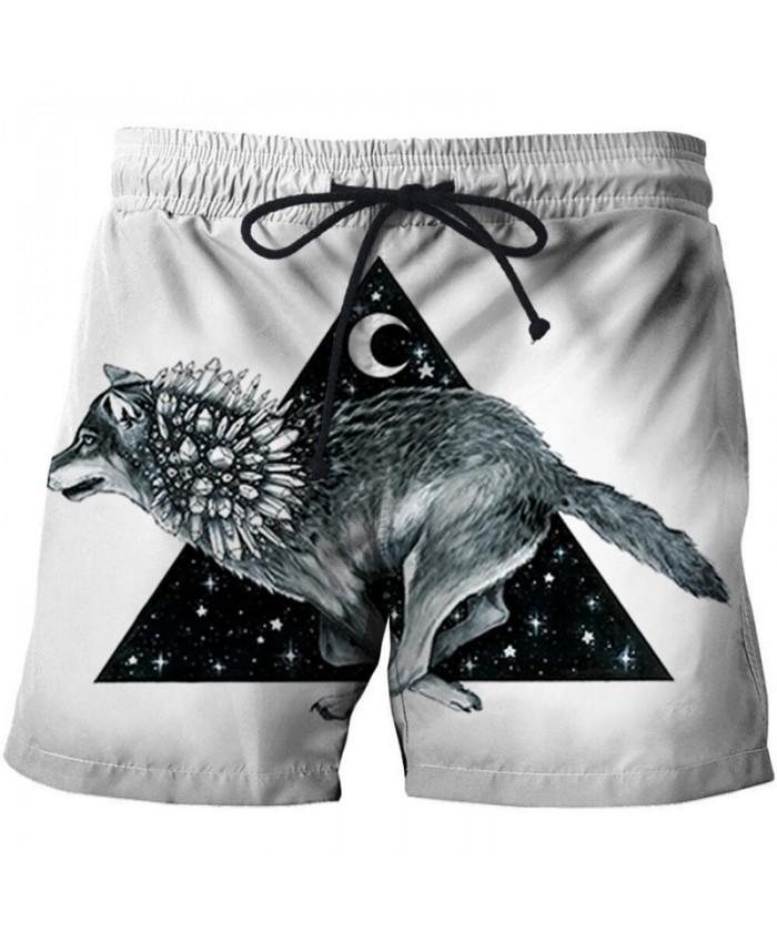 3D Print Wolf By Pixie Cold Artist Men Beach Short Casual Cool Men Stone Print Beach Shorts Summer Male Beachwear