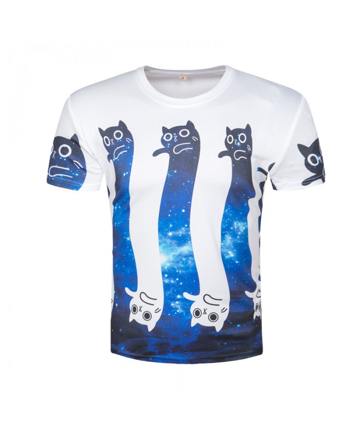 3D Printed Cat T shirts Men Cute Cartoon Funny T-shirt Male Harajuku Galaxy Short Sleeve O-Neck Tshirts Cat Top 2018