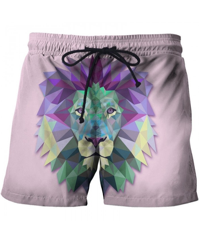 3D Printed Colorful Lion Face Board Shorts Elastic Waist Beach Shorts Summer 2019 New Male Clothing Short Trousers