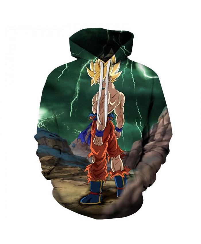 3D Printed Exposing The Body Dragon Ball Men Pullover Sweatshirt Pullover Hoodie Casual Hoodies Fashion Men Hoodie
