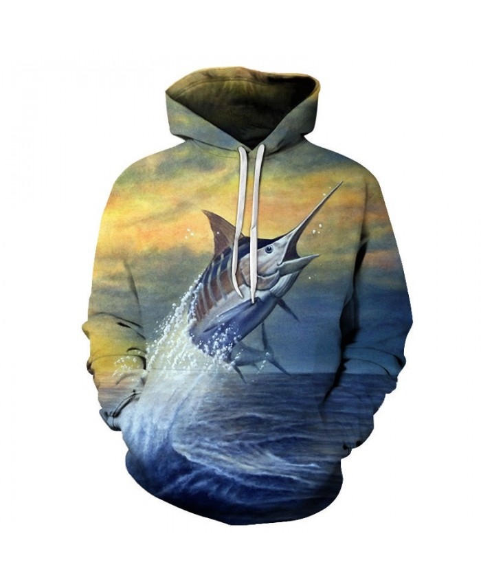 3D Printed Fish Rushing Out Of The Water Mens Pullover Sweatshirt Clothing for Men Custom Pullover Casual Hoodie