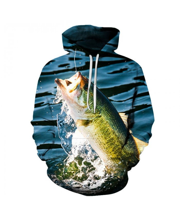 3D Printed Fish Sunbathing Mens Pullover Sweatshirt Clothing for Men Custom Pullover Hoodie Casual Hoodies Men 2019