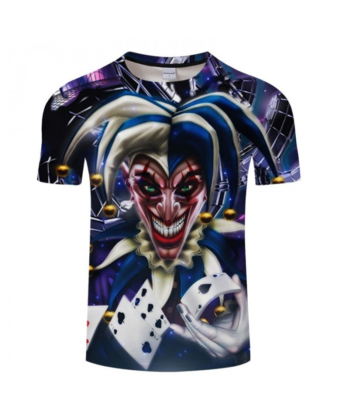 3D Printed Hand Holding Playing Cards Clown Men tshirt Crossfit Shirt Casual Summer Short Sleeve Male tshirt Men