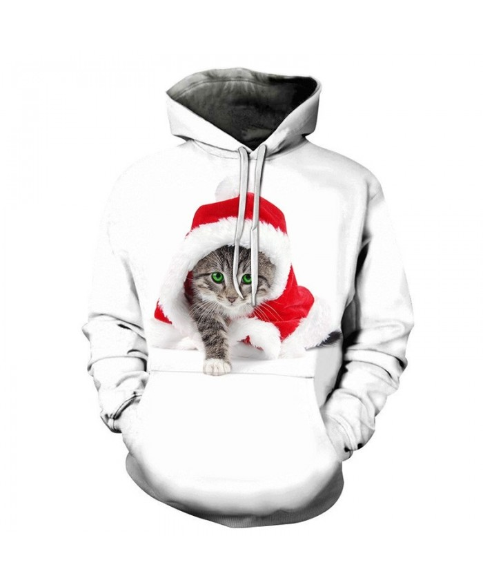 3D Printed Hoodies Casual Fashion Sweatshirts Sport Hoodies For Men Cat Wearing A Christmas Hat