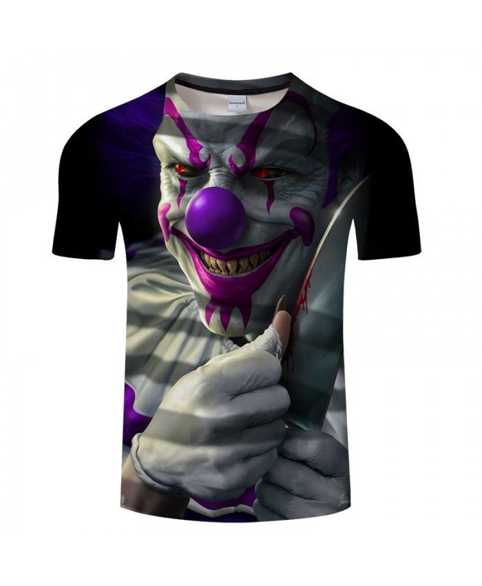 3D Printed There Is Blood On The Knife Clown Men tshirt Crossfit Shirt Casual Summer Short Sleeve Male tshirt Men