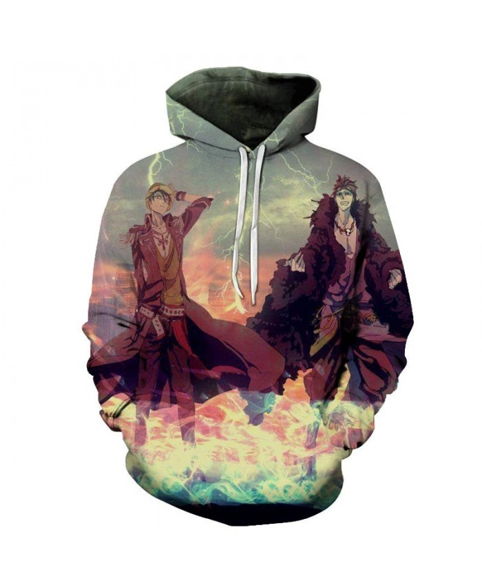 3D Printed Thunder And Lightning One Piece Men Hoodies Mens Pullover Sweatshirt Fashion Men Hoodies Pullover Casual