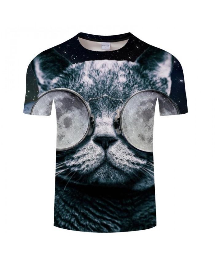 3D Printed Wearing Ice Glasses Cat Men tshirt Crossfit Shirt Casual Summer Short Sleeve Male tshirt Brand O-neck Men