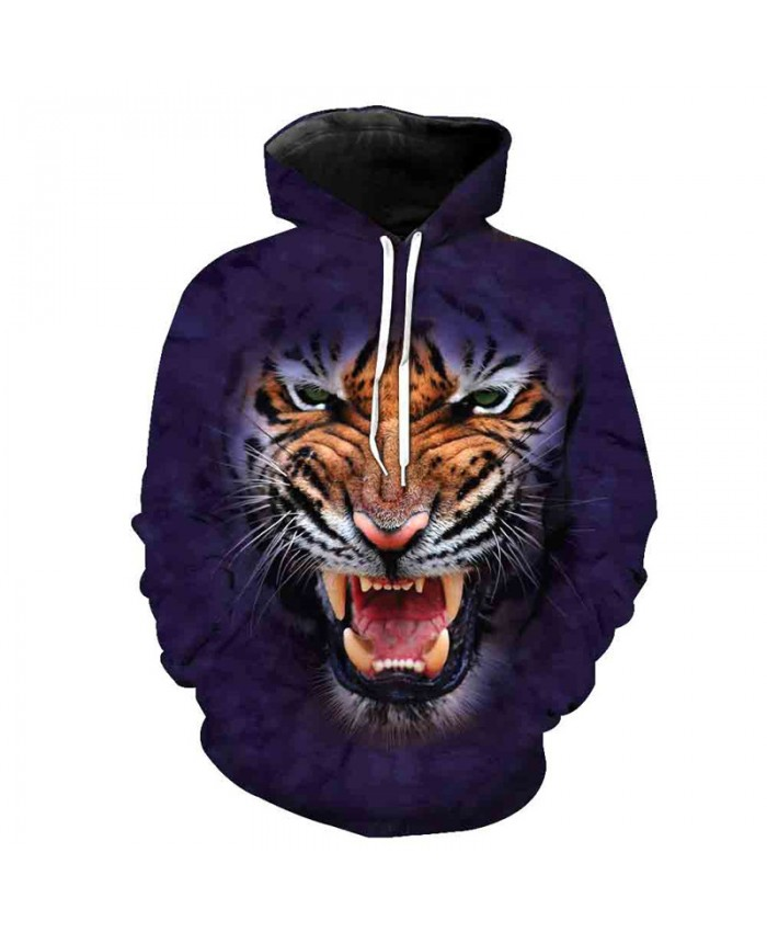 3D Roar Tiger Fashion Purple Hooded Sweatshirts Casual Hoodie Autumn Tracksuit Pullover Hooded Sweatshirt