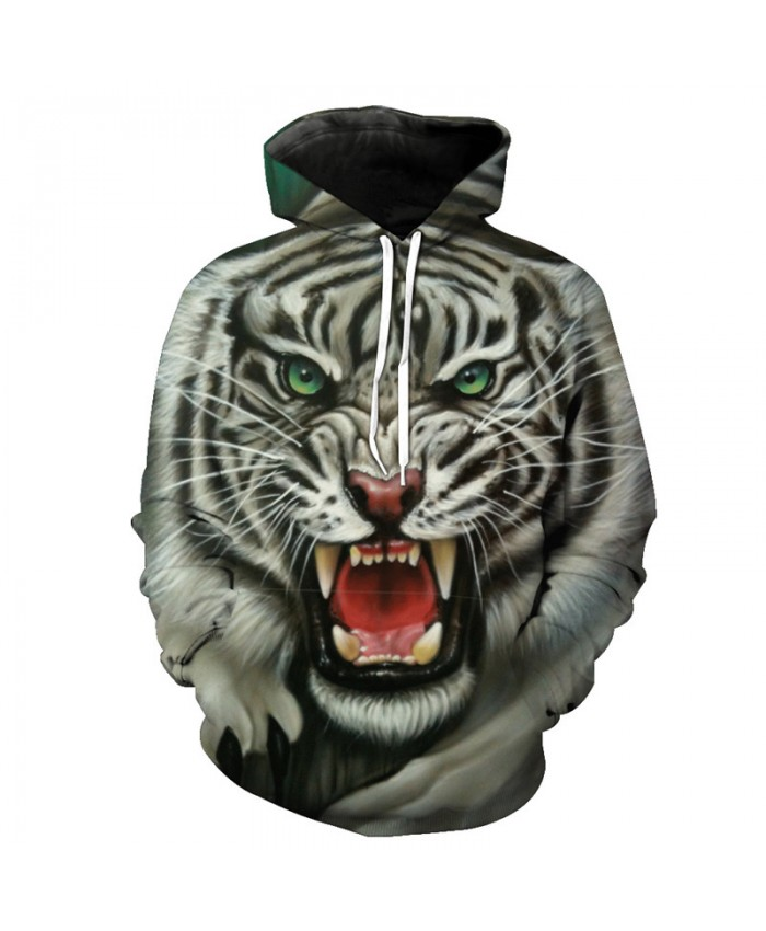 3D Roar White Tiger Fashion Hoodies Casual Hoodie Autumn Tracksuit Pullover Hooded Sweatshirt