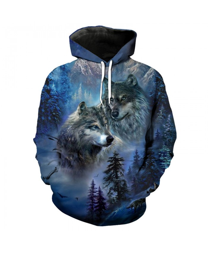 3D Snow Mountain Forest Wolf Print Fashion Pullovers Streetwear Hooded Sweatshirt Men Women Casual Pullover Sportswear