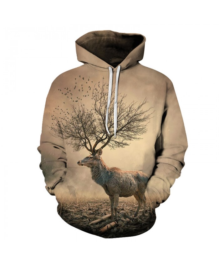 3D Sweatshirts Unisex Antelope Hoodies With Hat Print Unique Autumn Winter Loose Thin Hooded Hoody Tops