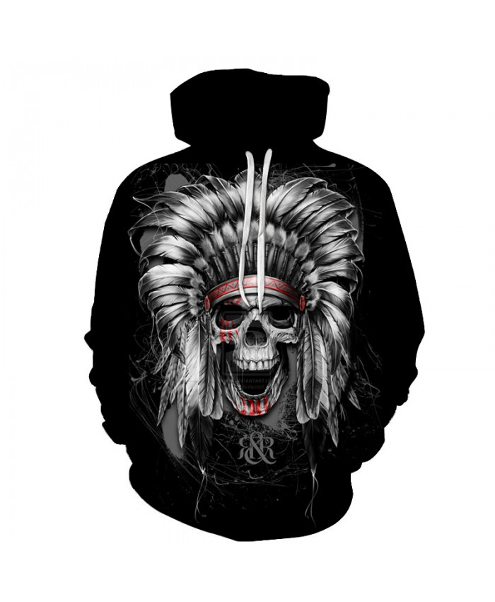 3D Sweatshirts Unisex Indian Skull Hoodies With Hat Print Unique Autumn Winter Loose Thin Hooded Hoody Tops