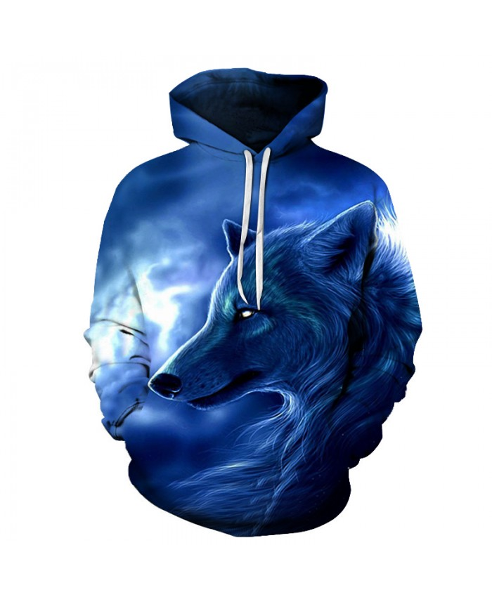 3D Sweatshirts Unisex Night Wolf Hoodies With Hat Print Unique Autumn Winter Loose Thin Hooded Hoody Tops