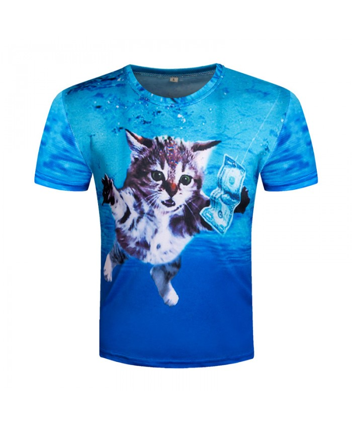 3D T shirt Printed Top Tee Men Cat T-shirt Short Sleeve Funny Money cat T-shirts Casual Novelty Streetwear Brand Top