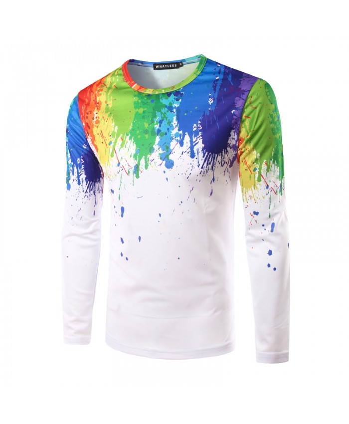 3D T shirts 2018 Men Tops Printed Slim Fit Splashed paint ink Casual Funny Round Neck Tshirts Male Printed Tops