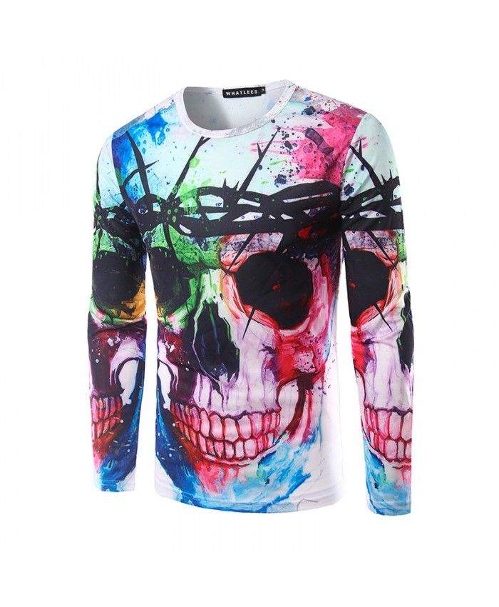 3D T shirts Men Skull Printed Tops Long Sleeve Autumn Spring Splashed paint ink T-shirt Funny Character Fashion 2019