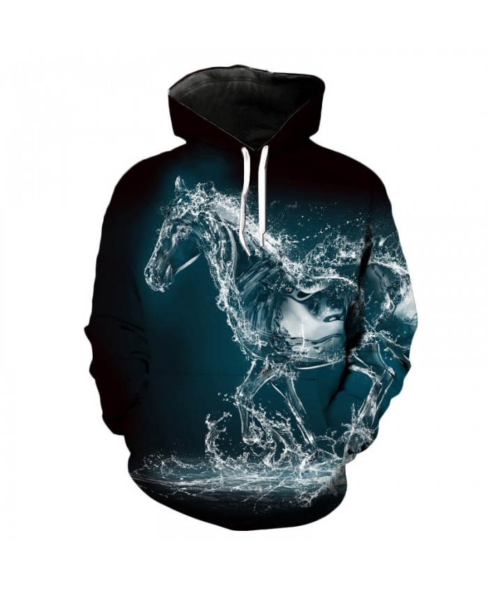 3D Water Horse Cool Hoodie Personality Casual Hoodie Autumn Tracksuit Pullover Hooded Sweatshirt