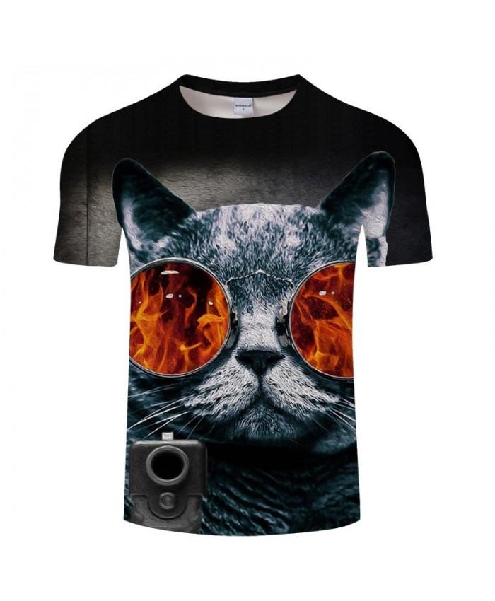 3D Wearing A Raging Fire Glasses Cat Men tshirt Crossfit Shirt Casual Summer Short Sleeve Male tshirt Brand Men