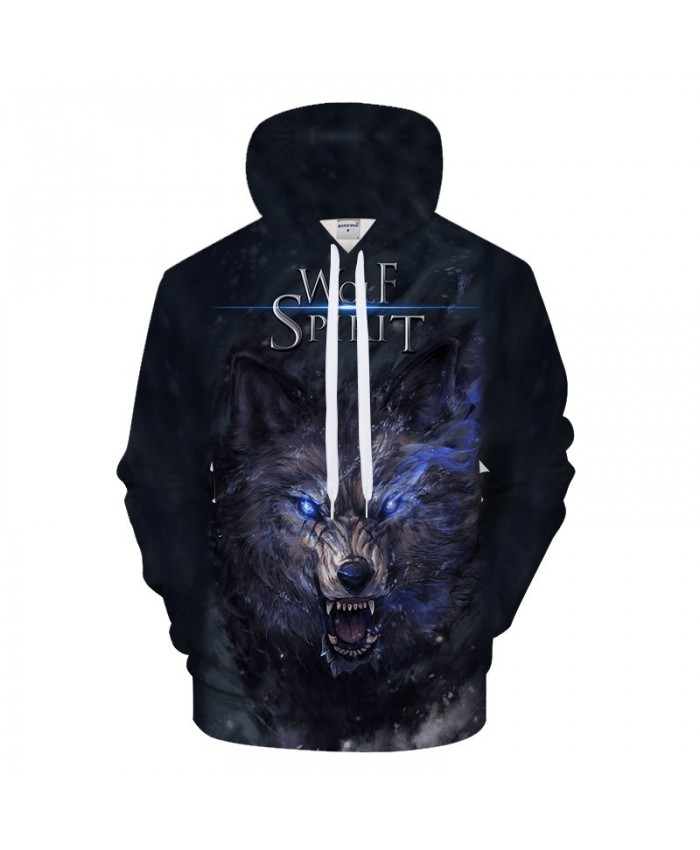 3D Wolf Hoodies Funny Hoody Men Women Sweatshirts Pullover Tracksuit Autumn 6XL Jacket Streatwear Coat Blue DropShip