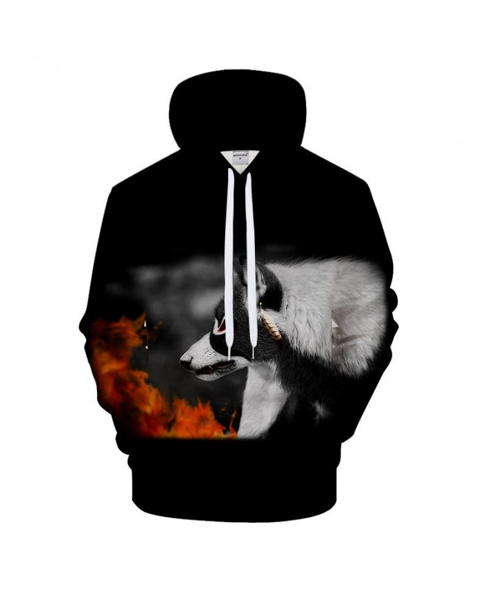 3D Wolf Hoodies Men Fire Sweatshirt Black Hoody Pullover Tracksuit Streatwear 6XL Hooded Coat Unisex Hoodie Drop ship