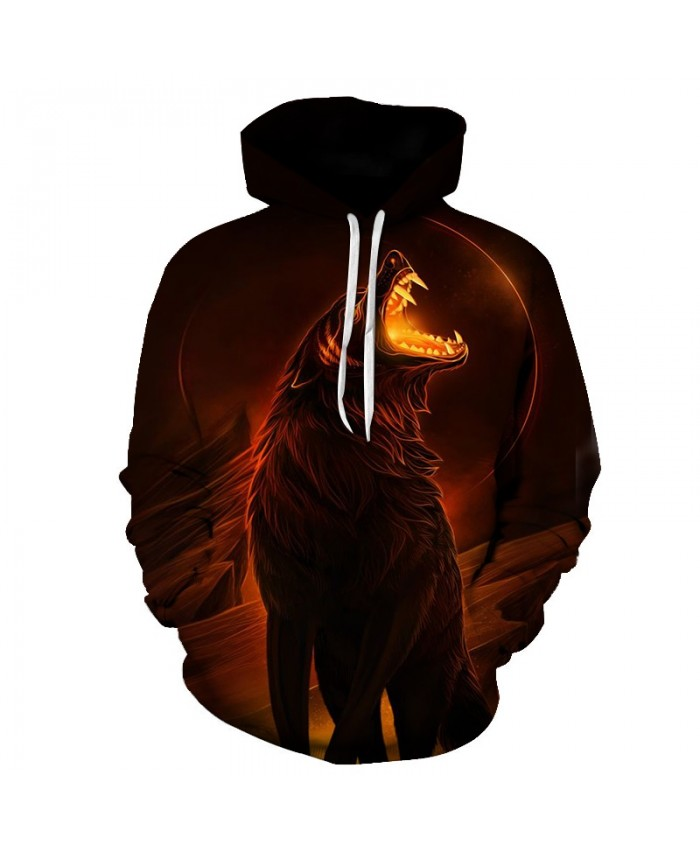 3D Wolf Hoodies Men Fire Sweatshirt Black Hoody Pullover Tracksuit Streatwear Hooded Coat Unisex Hoodie Drop ship