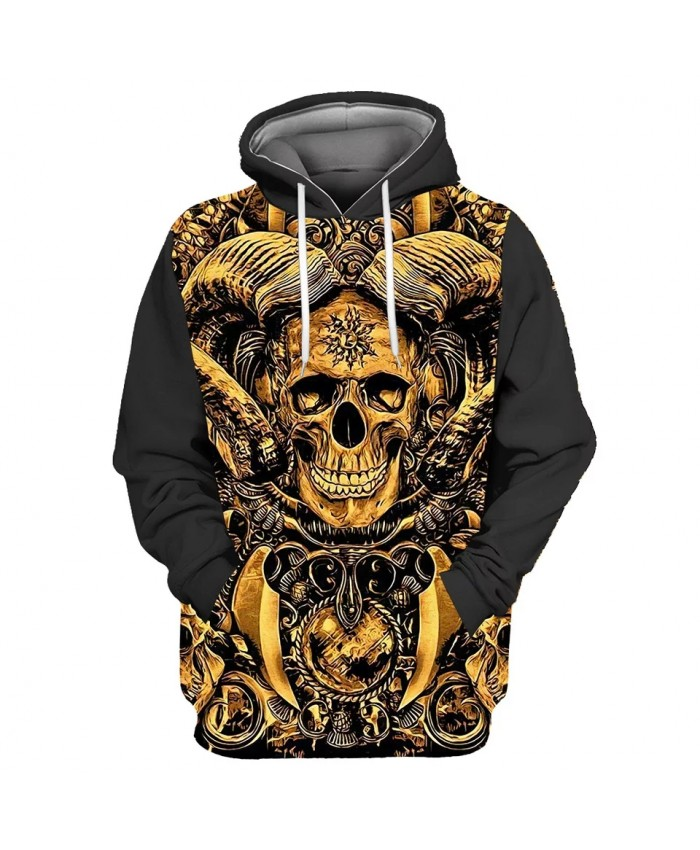 Gold jewelry smiling skull print stitching 3D hooded sweatshirts