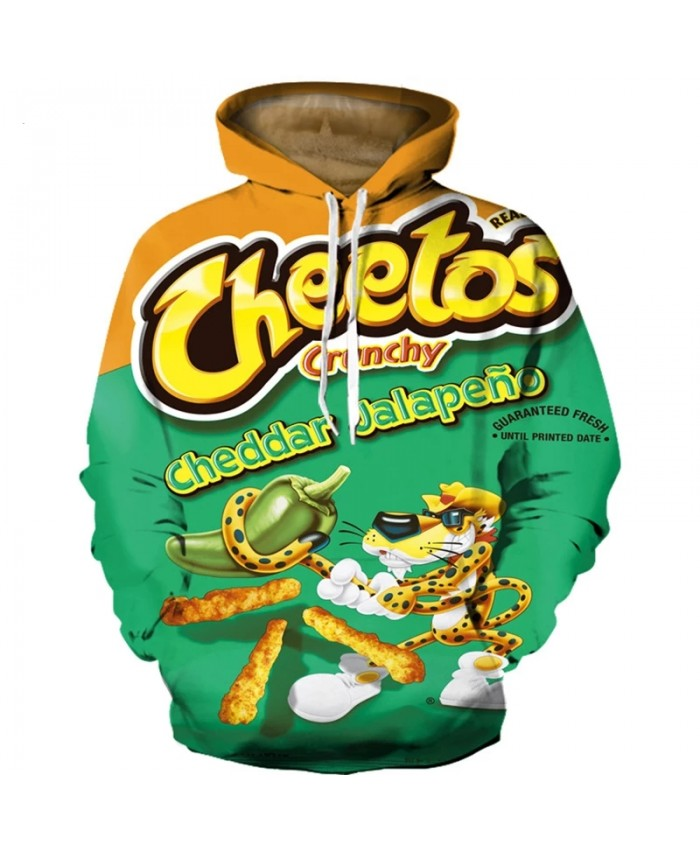 2021 New Streetwear 3D Print Cheetos Funny Hoodie Pullover Men Women Long Sleeve Hooded Sweatshirt Casual Hoodies Sweatshirts