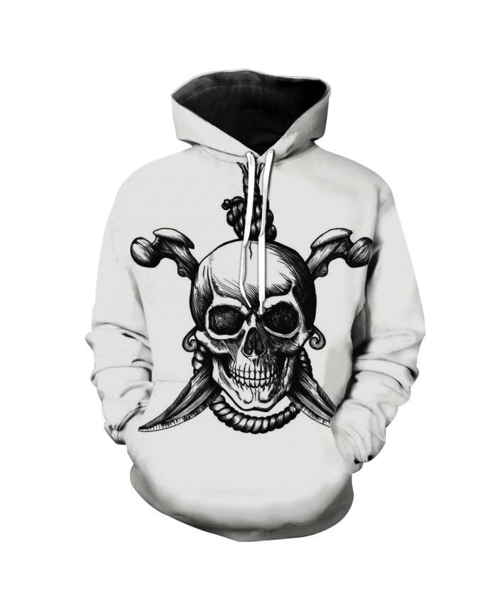 Men's Fashion 3D Hoodie Bone knife rope skull print sweatshirt