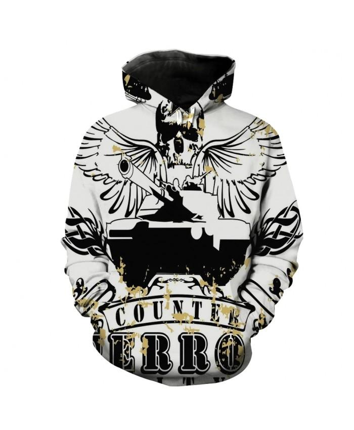 Men's Fashion 3D Hoodie Wings skull tank print sweatshirts