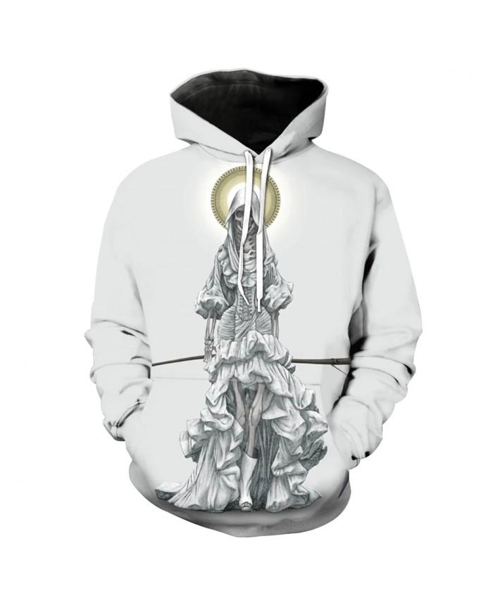 Grey Stone Statue White Hooded Sweatshirt Cool 3D Hoodie
