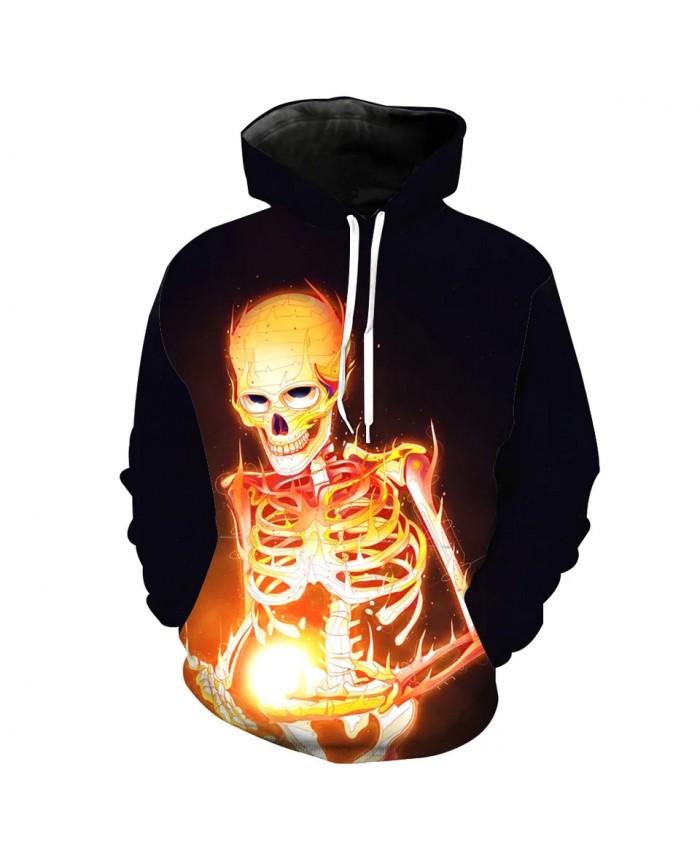 Flame ball gold skull print fashion 3D skull hoodie