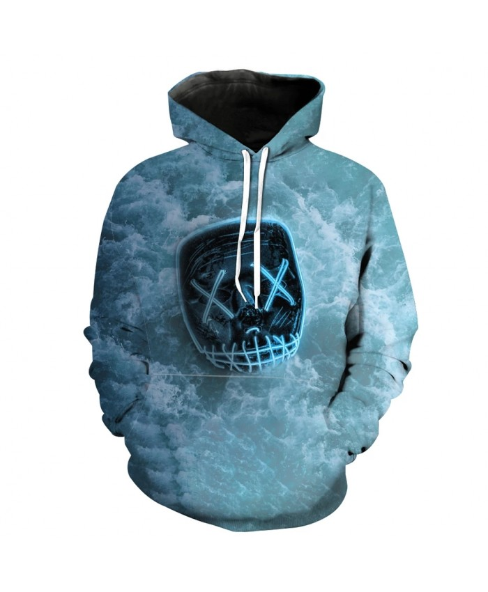 Green Wave Print 3D Hooded Sweatshirt Fashion Men's Hoodie
