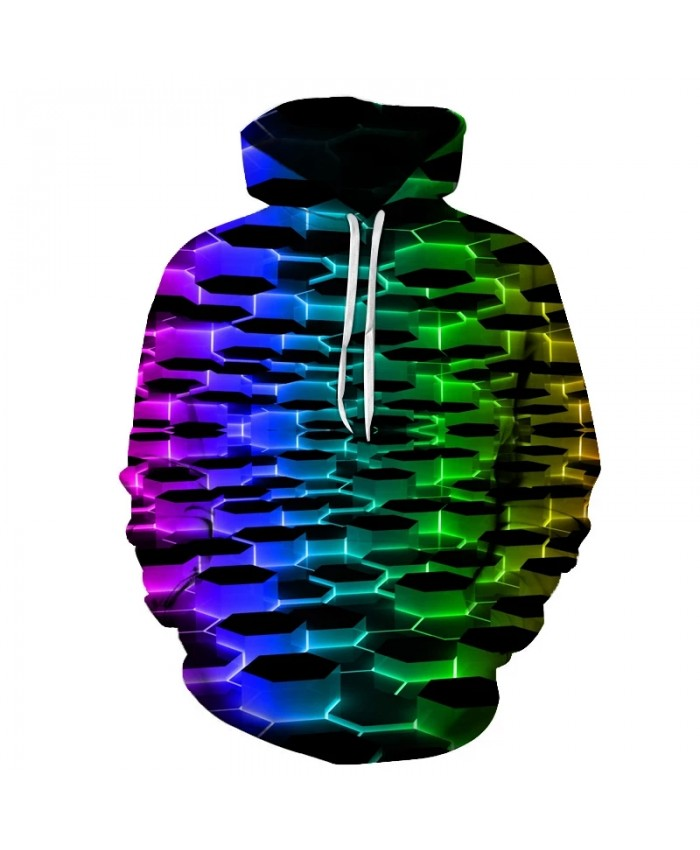 Colorful hole pattern 3D printing men's hooded sweatshirt autumn and winter fashion hole hoodie pullover hoodie