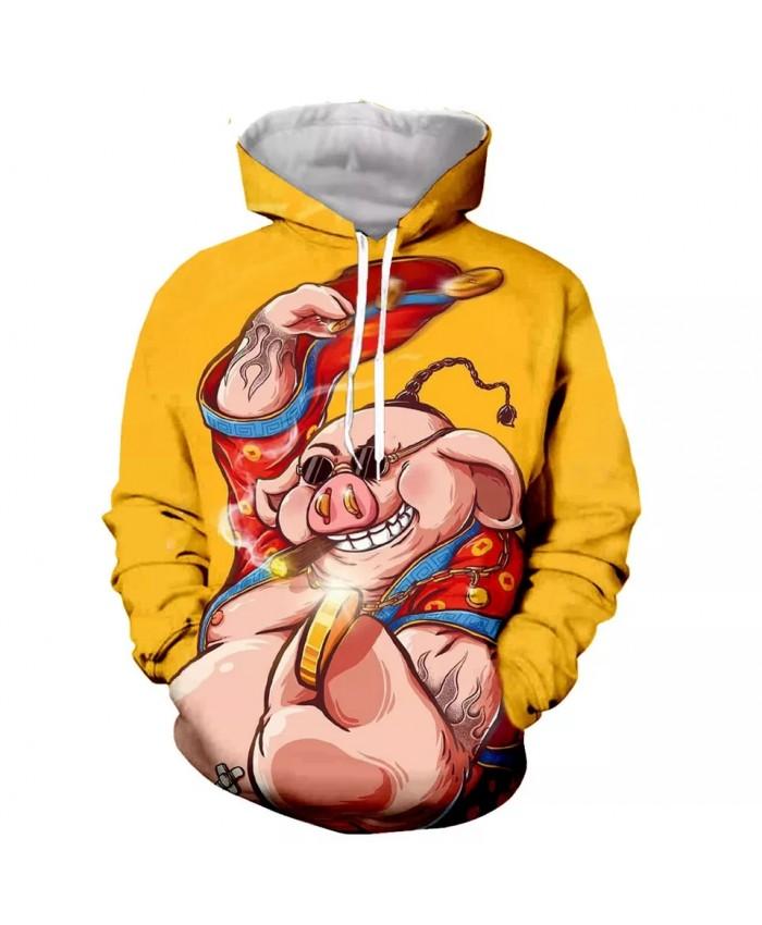 Smoking rich pig Fashion Long Sleeves 3D Print Hoodies Sweatshirts Jacket Men women tops