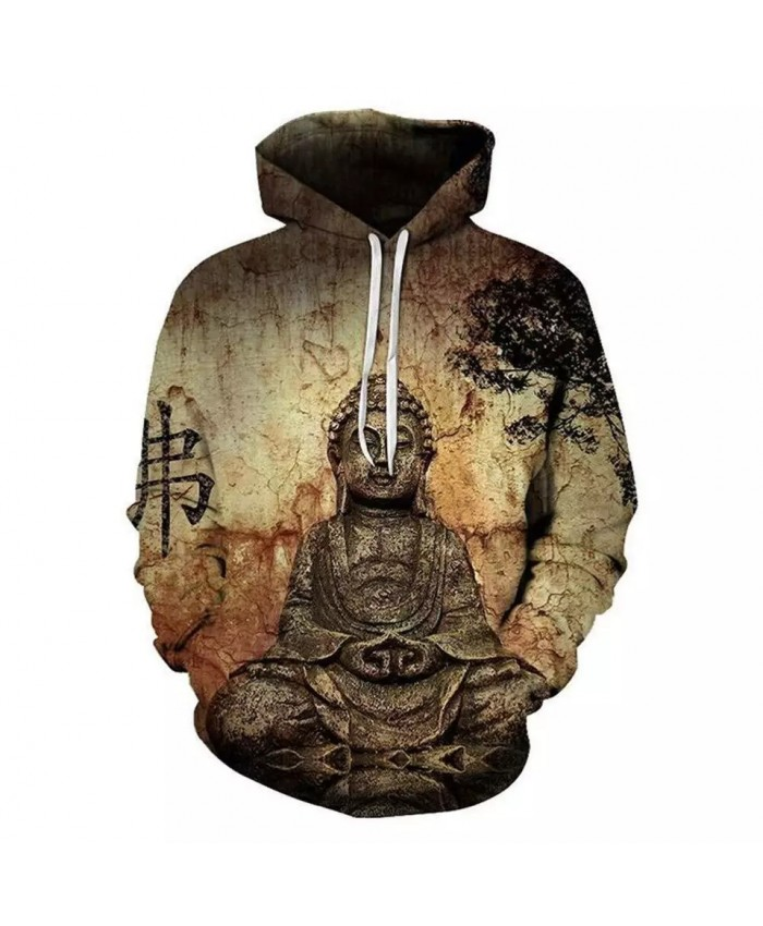 Mottled stone wall ancient Buddha print cool 3D sweatshirt
