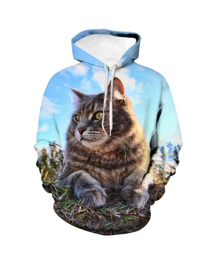 Spring And Autumn New Men's And Women's Children's Funny Cat Hoodie Long Sleeve 3d Printing Animal Sweatshirt Coat